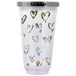 "Тамблер-стакан YES с подсветкой ""Hearts"", 490мл, фольга , с трубочкой"