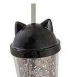 """Тамблер YES с блестками """"Black Cat"""", 450мл, с трубочкой"""