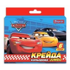 """Мел 1Вересня цветной JUMBO, 6 шт. """"Cars"""""""