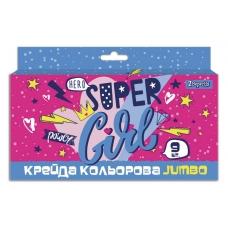 "Мел 1Вересня цветной JUMBO, 9 шт. ""Cool girl"""