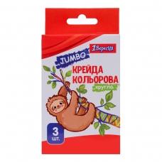 "Мел цветной 1Вересня 3 шт. JUMBO ""Zoo Land"""
