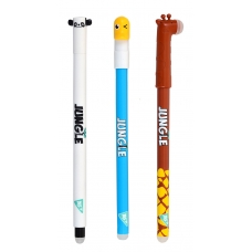 """Ручка гелевая YES пиши-стирай """"Jungle"""", 0,5мм, синяя, микс 3 диз"""