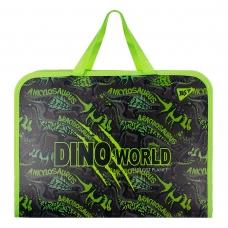 """Папка-портфель YES на молнии с тканевыми ручками """"Dino"""""""