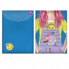 """Папка-конверт YES на кнопке А4 """"Smiley Girl"""""""