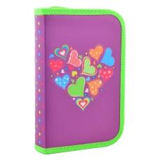 Пенал твердый одинарный с двумя клапанами Hearts purple, 20.5*13*3.6
