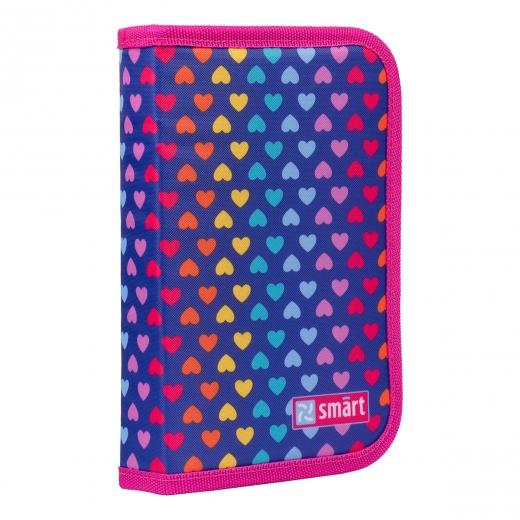 """Пенал твердый SMART одинарный с клапаном HP-03 """"Rainbow hearts"""", фиолетовый"""