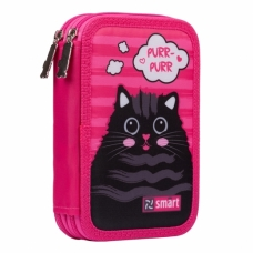 """Пенал твердый SMART двойной HP-01 """"Cat rules"""", розовый"""