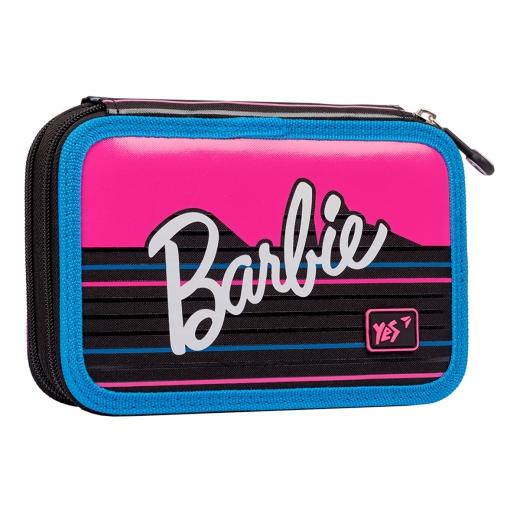 """Пенал твердый YES двойной HP-01  """"Barbie"""", черный/малиновый"""