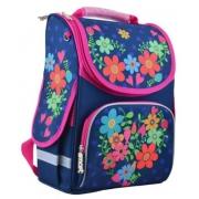 Рюкзак школьный каркасный Smart PG-11 Flowers blue, 34*26*14