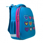 Рюкзак школьный каркасный  YES  H-12-1 Hearts turquoise, 38*29*15