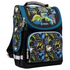 """Рюкзак школьный каркасный SMART PG-11 """"Dino world"""", черный"""