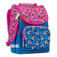 """Рюкзак школьный каркасный SMART PG-11 """"Hello, panda"""", синий/розовый"""