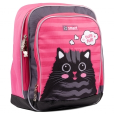 """Рюкзак школьный SMART H-55 """"Cat rules"""", розовый/серый"""