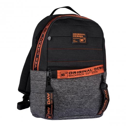 """Рюкзак YES T-122  """"Urban disign style Orange"""", серый/черный"""