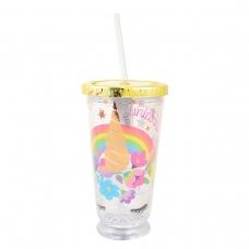 "Тамблер-стакан YES с подсветкой ""Unicorn"", 490мл, фольга ,с трубочкой"