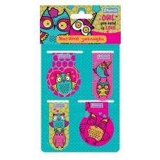 """Закладки магнитные 1Вересня """"Owl"""", 4шт."""