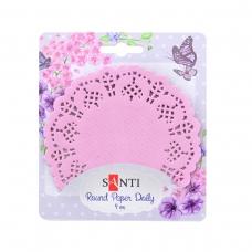 Набор салфеток ажурных круглых, цвет розовый, диаметр 9 см, 12 шт.