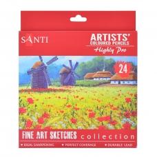 """Набор художественных цветных карандашей """"Santi Highly Pro"""", 24 шт"""