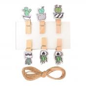 "Набор прищепок деревянных Santi декоративных ""Fashion cacti"", 3.5 см, 6 шт./уп."