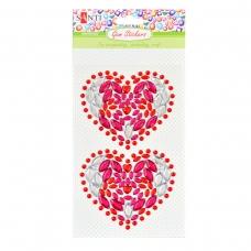 Набор аппликаций Santi из кристаллов самоклеящихся «Hearts», 9.5*15 см.