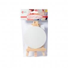 Холст круглый Santi грунтов, мелкозерн, на подрамнике с декоративным мольбертом, 7,5 см