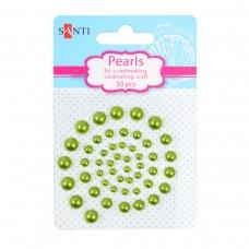Набор жемчужин SANTI самоклеющихся зеленых радужных, 50 шт