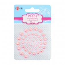 Набор жемчужин SANTI самоклеющихся светло-розовых радужных, 50 шт