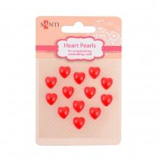 Набор жемчужин SANTI самоклеющихся сердечки красные, 13 шт