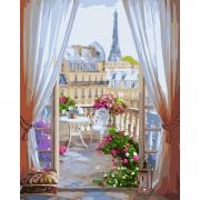 """Набор, картина по номерам """"Окно в Париж"""", 40*50 см., SANTI"""