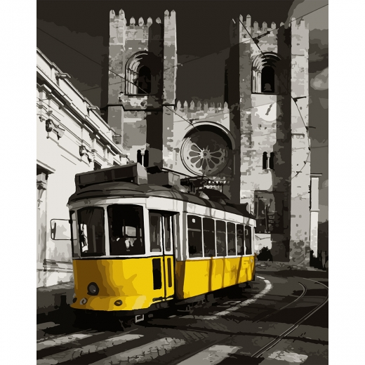 "Набор, картина по номерам ""Желтый трамвай"", 40*50 см., SANTI"