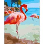 """Набор в коробке, картина по номерам """"Розовый фламинго"""", 40*50 см., SANTI"""