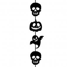 "Гирлянда бум. фигурная Yes! Fun Хэллоуин ""Крик"" 12 фигурок, 3м, вертикальная"