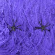 Паутина декор.Yes! Fun Хэллоуин 20 г, с двумя паучками, фиолетовая