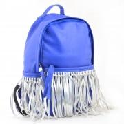 Сумка-рюкзак, синяя с бахромой, 36*26*11