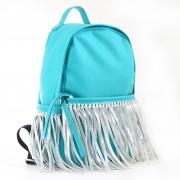 Сумка-рюкзак, мятный с бахромой, 36*26*11