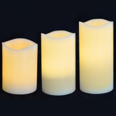 Набор свечей Yes! Fun пласт. LED 3 шт. (7.5*10см, 7.5*12.5см, 7.5*15см), для улицы