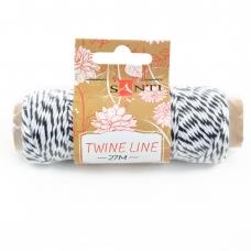 Шнур двухцветный декоративный, цвет бело-черный, 27 м.