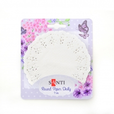 Набор салфеток ажурных круглых, цвет белый, диаметр 9см, 12 шт.