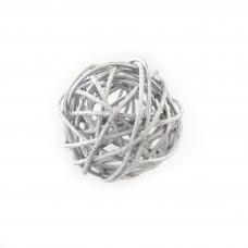 Шар ротанговый серебряный, d-5см