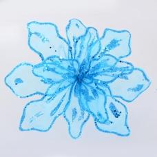 """Цветок пуансеттии Yes! Fun """"Королевский"""" полупрозрачный голубой, 28*28см"""