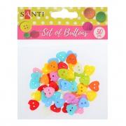 """Набор пуговиц Santi  """"Сердца"""", пластик, 15мм, 10 цветов, 50шт./уп."""