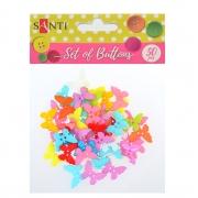 """Набор пуговиц """"Бабочки"""", пластик, 15мм, 10 цветов, 50шт./уп."""