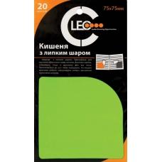 Карман с липким слоем пластиковый 75х 75мм 20шт.ассорти цвет.
