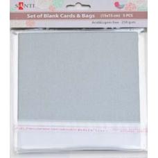 Набор серебристых перламутровых заготовок для открыток, 15см*15см, 250г/м2, 5шт.