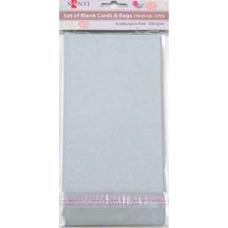 Набор серебристых перламутровых заготовок для открыток, 10см*20см, 250г/м2, 5шт.