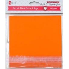 Набор оранжевых заготовок для открыток, 15см*15см, 230г/м2, 5шт.