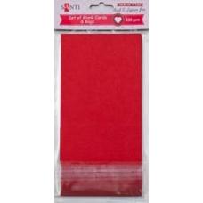 Набор красных заготовок для открыток, 10см*20см, 230г/м2, 5шт.