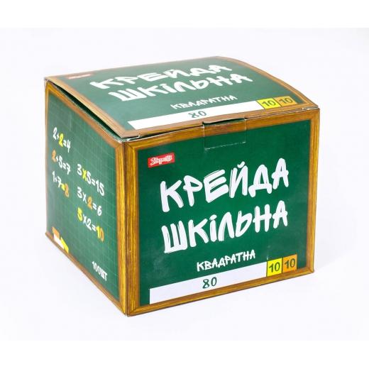 """Мел """"Школьный"""" белый+цветной 12х12мм, 100 шт., квадратный"""