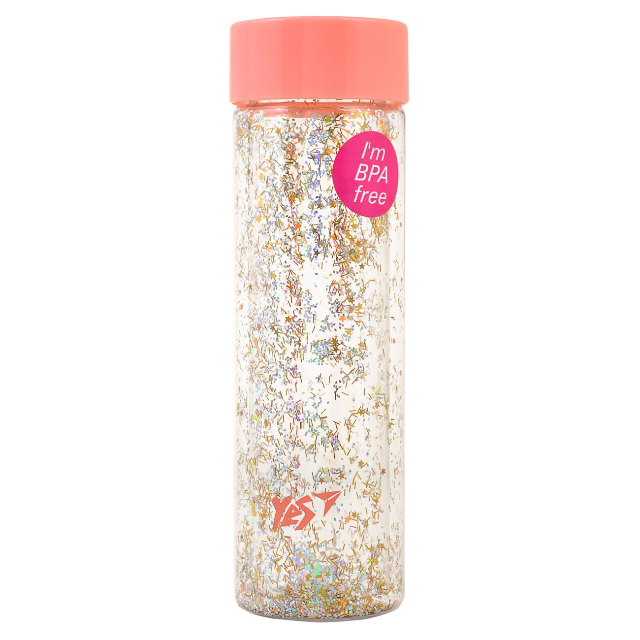 """Бутылка для воды YES с блестками &quotShine"""", 570мл, крышка персикового цвета"""
