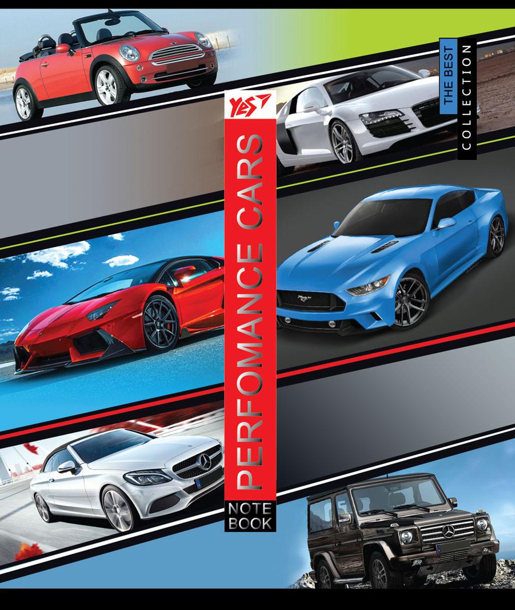 А5/12 кл. YES мат. ламинация+фольга серебро+УФ-выб Performance cars, тетрадь